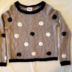 Justice Sweater with black and white polka dots
